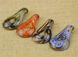 2016 Glass Pendants Necklace Gold Dust Murano Glass Jewelry Spoon Shaped Lampwork Glaze Pendant Fit DIY Craft Jewelry
