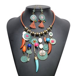 Wholesale Ethnic Retro Coin Tassel Necklace Earring Jewelry Set Lock Key Beaded Necklace For Women Girl Jewelry From China