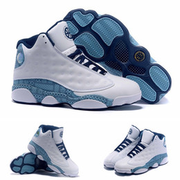 (With shoes Box) 2015 NEW Retro 13 XIII Quai 54 White Blue Hot Sale Men Shoes Free Shipping
