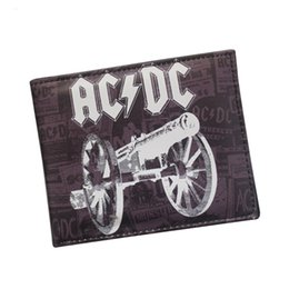 Classic Rock Band AC DC Wallet Retro Leather Men Wallets Letter Printed Cannon Cartoon Purse ID Credit Card Holder ACDC music Wallet Short