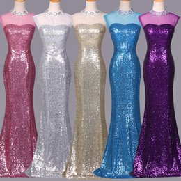 Jewel Neck Beaded Sequin Mermaid Bridesmaid Dress 2016 Floor Length Wedding Party Dress Custom Made Fast Shipping