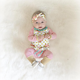 Wholesale 2016 News ins hot selling baby clothes sets infant baby girl rose flower print jumper tops with stripe long pants headbands three piece set