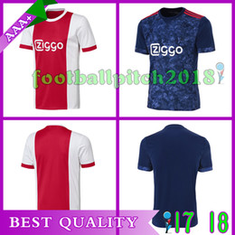 2017 New Ajax home red white Soccer Jersey 17 18 Ajax away blue Soccer Shirt 2018 Customized 10 KLAASSEN 34 NOURI football uniform Sales