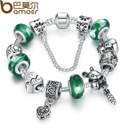 Wholesale BAMOER Silver Green Bead Animal Best Friend Charm Bracelet with Safety Chain for Women Original Jewelry