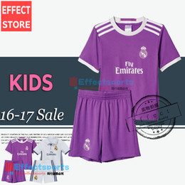 Wholesale 2017 Real madrid Kids soccer Jersey Youth Child kit RONALDO home white away Purple JAMES BALE RAMOS ISCO MODRIC football shirt sets