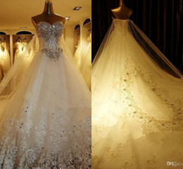 Luxury Crystal Beading Wedding Dresses With Royal Lace Train Sweetheart Bridal Dresses Real Photos Lace Up Plus Size Wedding Bridal Gowns