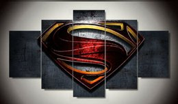 Free shipping 5 pieces Superman Wall art Paintings movie HD images print on canvas for kid's living room Decoration F 1201