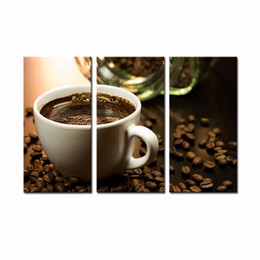 Wholesale LK3129 Panel Cup Of Coffee And Coffee Bean Oil Painting On Canvas Wall Art High Giclle Artwork Picture For Home Bar Hub Kitchen Modern