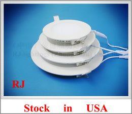 Wholesale US stock no tax no Customs problem LED flat light round recessed ceiling LED panel lamp light W AC85 V SMD2835 aluminum
