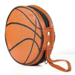 Wholesale Orange Basketball Pattern Zippered Round Case Pieces Capacity DVD CD Holder Bag bag display