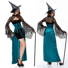 Wholesale Halloween Clothes Woman Sexy Witch Costume Dress Magician Cosplay Long Dress Game Suit Party Club Stage Clothes