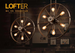 2016 new arrivals Loft chandelier industrial wind wheel lamp creative Cafe Restaurant personality retro American country Iron Chandelier