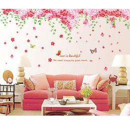 Wholesale Romantic Cherry Trees Wall Sticker Butterfly Newlyweds Wedding Room Marriage Living Room Decoration Love Restaurants Removable