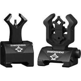 Diamondhead DIAMOND Iron Sight Flip-Up Rear Front Sight Folding Iron combat Sights for Drop-In Free-Floating Handguards Picatinny Rail