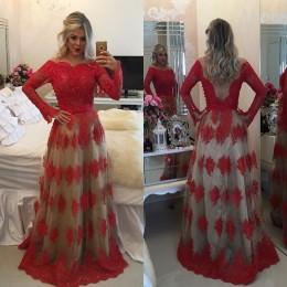 Long Sleeves Prom Dresses 2016 Backless Ball Gowns Off the Shoulder Red Long Evening Gowns with Belt and Beaded Appliques