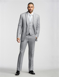 Wholesale-2016 Italian Light Grey wedding business suits for men Jacket+Pants+Tie+Vest mens Tuxedo Styles Custom Made best men suits