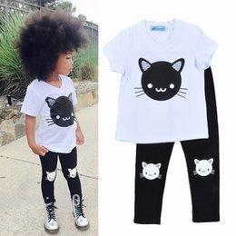 Wholesale hot Kids Bobo Choses Cat print Sets Baby girl boy spring summer Cartoon Kitten Printing outfit Short Sleeve T shirts Pants