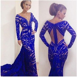 2016 Custom Made Mermaid Royal Blue Formal Evening Dresses V-Neck Long Sleeve Evening Gowns Sexy Lace Floor-Length Prom Gowns Free Shipping
