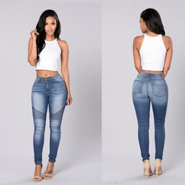 Wholesale Blue Jeans Women Pencil Jeans High Waist Jeans Sexy Slim Elastic Skinny Pants Trousers Fit Lady Spandex Jeans