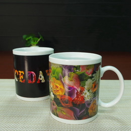 Wholesale DHL best gifts flowers have a nice day ceramic heat sensitive magic color changing mug tea cups