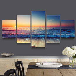 5p modern Home Furnishing HD picture Canvas Print art wall of the sitting room children room decoration theme -- the study of beach