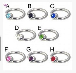 Wholesale Stainless steel anti allergy MM unisex nose rings nose studs piercing jewelry body jewelry mix color rhinestone puncture