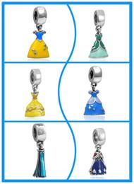 Wholesale Belle princess Cinderella ariel elsa Princess Ann Skirt pendants DIY Charm Brand Christmas gold alloy beads Large hole pendant