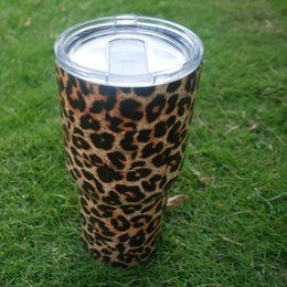 Wholesale Steel Camp Mug - Wholesale Blanks Leopard Yowies Tumbler Stainless Steel Double Wall Vacuum Insulated Tumbler with Lid, 30 oz camping cup&mug DOM106330