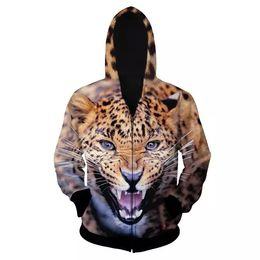 Unique Long Sleeve 3D Painted Leopard Face Pattern Zipper Hoodie for Men