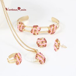 Wholesale Westernrain Best Gift for Your Girl Gold plated BLUE Pink Stone Necklace Set Children s gift jewelry for kid Baby A724