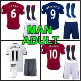 Wholesale 2016 best Thailand Quality MancHester Jersey home away rd jerseys UnITED Ibrahimovic MEMPHIS ROONEY POGBA jersey kit