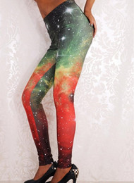 New Arrival Fashion Famous Brand Good Quality Women Mid Waist Sexy Galaxy Print Leggings Ankle-Length wl012