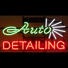 AUTO DETAILING Real Glass Neon Light Sign Home Beer Bar Pub Recreation Room Game Room Windows Garage Wall Sign