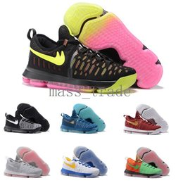 Wholesale new Basketball Shoes Mens KD Durant IX Sneakers in all colors in Blue Red Black and Green buy Discount KD9 Sports Shoes