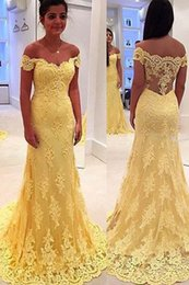 Yellow color prom dress 2016 vestidos long A line lace vening dress off shoulder sexy evening gown lace party dress