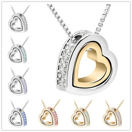 Wholesale Heart Crystal Necklaces Pendants K Gold And Silver Plated Jewellery Jewerly Necklace Women Fashion Jewelry