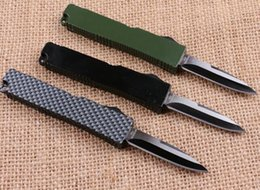 Wholesale mini microtech Key buckle knife aluminum T6 green black carton fiber plate double action Folding knife gift knife xmas knife