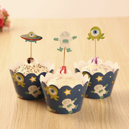 Wholesale 60 sets Space Theme Cupcake Liner Wrap Wrappers with Toppers Kids Girl Boy Birthday Baby Shower Party Decoration Accessories