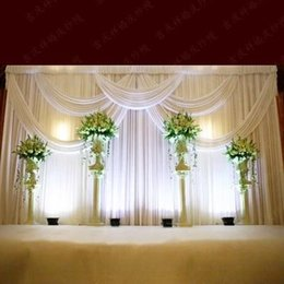 Wholesale 3 m ft ft Milk White Wedding Curtain Backdrops with Swag High Quality Ice Silk Material Wedding Party Stage Decorations