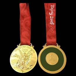 Wholesale 1 The Brand new Beijing Olympic Gold medal badge with Ribbon COINS copy