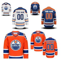 Personalized Edmonton Oliers Custom Hockey Premier Jerseys High Quality & Stitched Custom Any Name & Number white orange blue jerseys