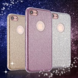 Protection téléphone cellulaire en Ligne-pour Apple iPhone 7 Plus 6 6S plus Glitter Cell Phone Light Case Mobile Back Cover antichoc Armure Shell Protector PC + TPU Protection Double