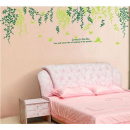 Wholesale Green Willow Leaf Birds Wall Decal Room Stickers Vinyl Removable Paper Mural Home Decoration
