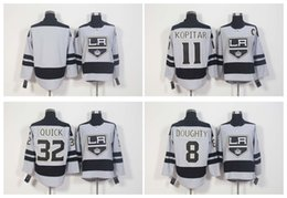 Wholesale 2016 New th Anniversary LA Los Angeles Kings Hockey Jerseys Drew Doughty Anze Kopitar Jonathan Quick Blank Grey Stitched Jerseys