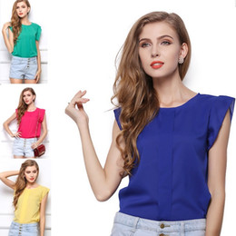 Wholesale 4 Colors Womens Blouses Chiffon Clothing Summer Lady Blouse Shirt Sale New Fashion Ruffle Short Sleeve Tops OL Blouse S M L XL