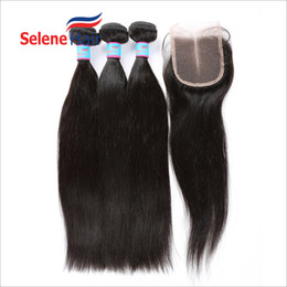 Wholesale Straight Indian Hair For Sale - 8A Straight Brazilian Hair Bundles with Free Lace Closure Unprocessed Brazilian Peruvian Indian Cambodian Human Hair Weaves Closure For Sale