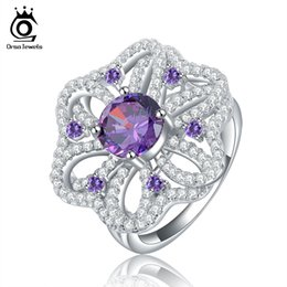 Wholesale ORSA Luxury Hearts and Arrows cut Amethyst Zircon Flower Shape Silver Ring Size OR39