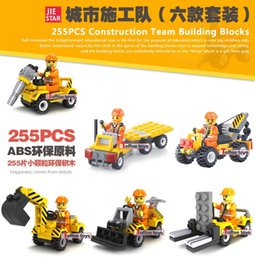 Wholesale 6Pcs set Construction Team Engineering Excavator Forklift Bulldozer Crane Building Block Kids Toys