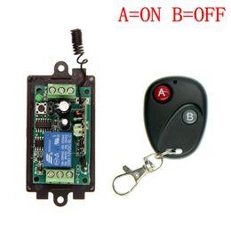 Descuento control remoto 315 Al por mayor-DC 9V 12V 24V 1 CH 1 canal de interruptor del sistema de control remoto inalámbrico RF, 315/433 MHz transmisor + Receptores, por pulsos (A = B = EN OFF)