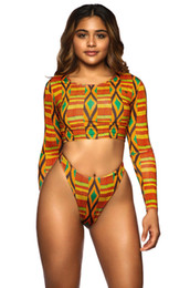 Wholesale BYC004 D Slim Cutting Long Sleeve Wetsuits UV Protection Retro Print Two piece Swimsuit Swimming Surfing Suit Swimwear Thong Swimsuit